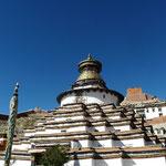 Le Kumbum Chorten du monastere : plus grand stupa du Tibet renfermant, selon la tradition bouddhique, 108 chapelles.