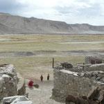Village Ouigour/Kyrghyze au milieu des prairies enherbées