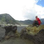posing in front of volcanoes