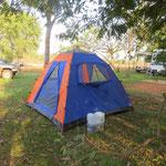 Zelten für und warten auf's Motorrad  - camping and waiting for our bike