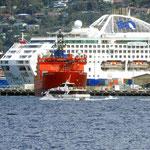 Die Aurora Australis erscheint wie ein Zwerg neben dem Kreuzfahrtschiff  -  the Aurora looks dwarfed by this huge ocean liner