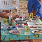 Thai family feast on the beach