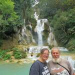 posing at Kuang Si waterfall