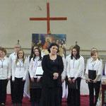 """Хор """"Иволги"""" г.Форсса, Финляндия (рук.Н.Малтизова) на концерте-встрече трех хоров 27 апреля 2012 года в Шведской церкви. (фото Н.Володин)"""