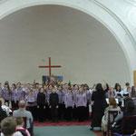 Совместное сполнение трех хоровна концерте-встрече трех хоров 27 апреля 2012 года в Шведской церкви. (фото Н.Володин)