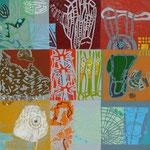 Verschiedene Welten (Hochdruck mit Ölfarbe auf Leinwand, 120 cm x 120 cm, Unikat)