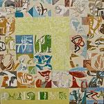 Schnittstellen (Hochdruck auf Leinwand, Ölfarben, 120 cm x 120 cm, Unikat)
