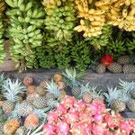 タガイタイではフルーツを直売する露店が軒を並べていました。       ・パイナップルバナナマンゴー路辺に売り(和良)
