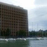 徳島市のNPО法人「新町川を守る会」の遊船で吟行しました。     ・土砂降りの止めば御仕舞船遊(和良)