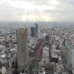 渋谷スカイから眺望した富士山の方向です。冬日がこぼれていました。・後光差すやうに冬日の雲間より(和良)