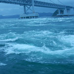 鳴門海峡の春の大潮を観潮船から見てきました。                     ・巻く渦の解ける速さ春の潮(和良)