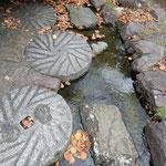 讃岐うどんの老舗「わら家」の庭に石臼の飛石がありました。      ・石臼の飛石に降る落葉かな(和良)