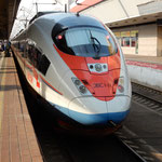 モスクワからサンクトペテルブルグへは特急列車で行きました。     ・ペテルブルグへ西日の中を列車行く(和良)