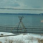 「のと里山里海号」の車窓から七尾北湾の鰡待ち櫓が見えました。    ・寒鯔を待ちし櫓の高さかな(和良)