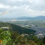 豊臣秀次の城のある八幡山から安土城の城址方面を眺望しました。      ・悲運なる秀次の城尾花散る(和良)