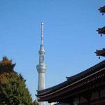 浅草の浅草寺から建設中のスカイツリーが見えました。銀色に輝いていました。 ・秋空へスカイツリーの凜と立ち(和良)