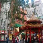 夏柳が茂る南京町の広場は観光客で一杯でした。            ・葉柳の南京町の広場かな(和良)