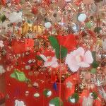 徳島市のアミコプラザで見た手作りの吊るし雛です。          ・一目見んとて手作りの吊るし雛(和良)