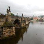 背景に王宮が見えるプラハのカレル橋です。下を子鴨が泳いでいました。 ・中世の橋の下行く子鴨かな(和良)