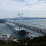 鳴門海峡で鷹の渡りを見ました。たくさんの鷹を見ました。          ・鷹渡る風に乗りたる高さかな(和良)