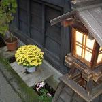 高山の古い家並みが続く上三之町ではどの家も菊を咲かせていました。  ・家毎に上三之町菊の花(和良)