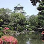 大阪城ではさつきが満開。天守閣は修学旅行生で一杯でした。 ・天守閣さつき明かりの空にあり(和良)