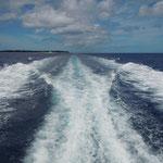 帰りの船から見た水納島です。真青な海に浮ぶ平らな島が水納島です。        ・琉球の海は真青や夏の雲(和良)