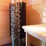 Saunaoven der Marke Harvia mit Saunasteinen für Aufguss