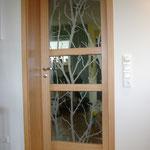 Buchen-Massivholztür mit Glasfüllung, Sandgestrahlt, Privatkunde