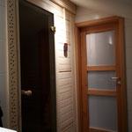 Neue Sauna im Bad des ausgebauten Dachstuhls, ...nachher.