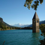 der berühmte Kirchturm im Reschensee