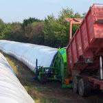 Déchargement du fourrage directement dans silo-presse (pas de souillures)