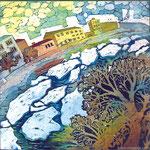 """""""Весна в городе""""   2001 г,  холодный батик, 45 х 45 см."""