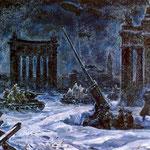 """""""Бородинский мост - зенитчики"""" 1981, орг.м., 78х102."""