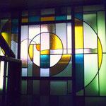 "Офис ""Центртелеком"" г.Орехово-Зуево.  Витраж, цв. стекло, алюминий 2003 г."