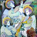 """""""Трубящие ангелы""""  2003 г, холодный батик, 80 х 60 см."""