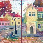 """""""Улица старого города"""" 2002 г, диптих, холодный батик. 45 х 90 см."""