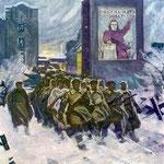 """""""Октябрьская площадь, 1941"""" 1966 г. К.м. 80х70"""