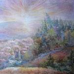 Закат на Иртыше. Акварель, 50х70, 2006