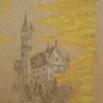 Neuschwanstein. Buntstifte. DIN A 3