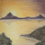 Sonnenaufgang am See. Pastell. Din A 2