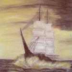 Segelschiff. Pastell. DIN A 2
