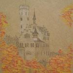 Burg Lichtenstein. Buntstifte. DIN A 3