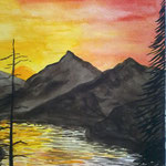 Abend am See. Aquarell. (DIN A3)