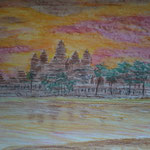 Angkor Wat. Wasserlösliche Kreide. 30x40 cm