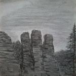 Im Elbsandsteingebirge. Kohle (DIN A3)