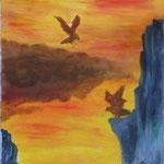 Adler im Felsental. Öl. 30x100 cm