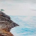 Am Mittelmeer. Ölpastell. 32x24