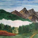 Blick in die Berge. Aquarell. (DIN A3)