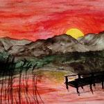 Abend am See. Aquarell. 24x32